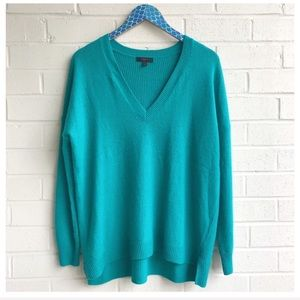 J. Crew V-Neck Turquoise Wool Pullover Sweater
